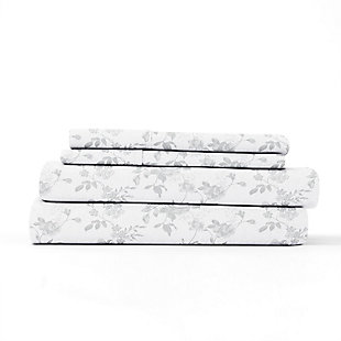 Home Collection Premium Sylvan Rose 3-Piece Flannel Twin Bed Sheet Set, Charcoal/White, rollover