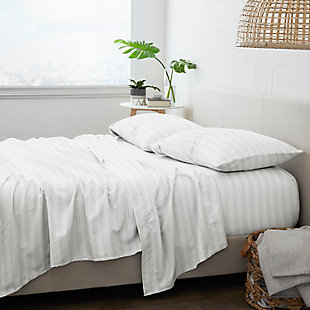 Home Collection Premium Weathered Stripe 3-Piece Flannel Twin Bed Sheet Set, Charcoal/White, large