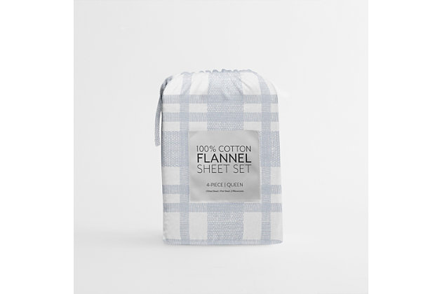 Home Collection Premium Woven 3-Piece Flannel Twin Bed Sheet Set, Light Blue, large