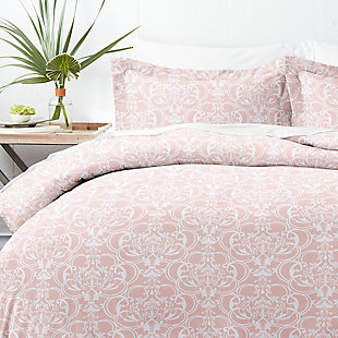Home Collection Premium Ultra Soft Romantic Damask Pattern 2-Piece Twin Duvet Cover Set, Pink, large