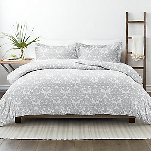 Home Collection Premium Ultra Soft Soft Damask Pattern 2-Piece  Twin Duvet Cover Set, Ash Gray, rollover
