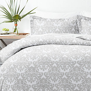 Home Collection Premium Ultra Soft Soft Damask Pattern 2-Piece  Twin Duvet Cover Set, Ash Gray, large