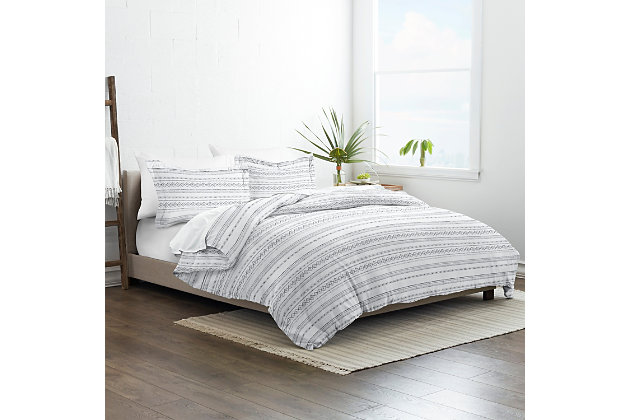 Home Collection Premium Ultra Soft Geo Threads Pattern 2-Piece Twin Duvet Cover Set, Ash Gray, large