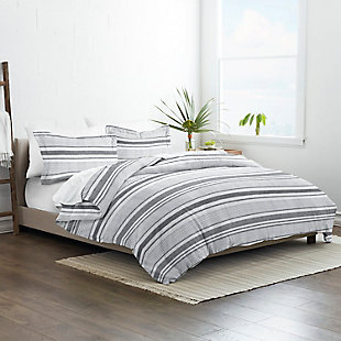Home Collection Premium Ultra Soft Vintage Stripe Pattern 2-Piece Twin Duvet Cover Set, Ash Gray, rollover