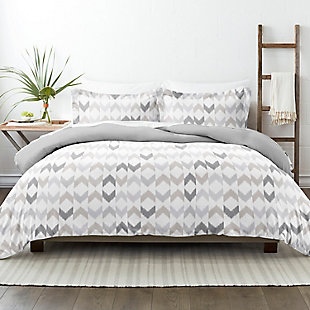 Home Collection Premium Ultra Soft Chevron Sleep Pattern 2-Piece Reversible Twin Duvet Cover Set, Ash Gray, rollover