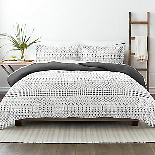 Home Collection Premium Ultra Soft Etched Gate Pattern 2-Piece Reversible Twin Duvet Cover Set, Charcoal/White, rollover
