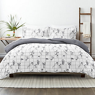 Home Collection Premium Ultra Soft Flower Field Pattern 2-Piece Reversible Twin Duvet Cover Set, Charcoal/White, rollover