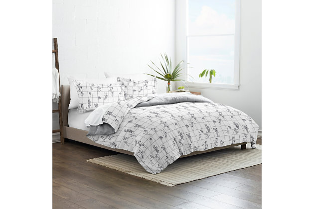 Home Collection Premium Ultra Soft Flower Field Pattern 2-Piece Reversible Twin Duvet Cover Set, Charcoal/White, large