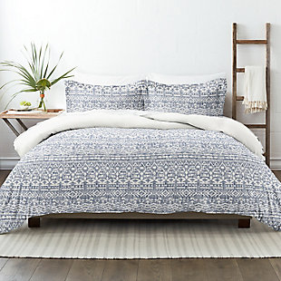 Home Collection Premium Ultra Soft Modern Rustic Pattern 2-Piece Reversible Twin Duvet Cover Set, Navy, rollover