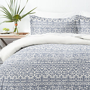 Home Collection Premium Ultra Soft Modern Rustic Pattern 2-Piece Reversible Twin Duvet Cover Set, Navy, large