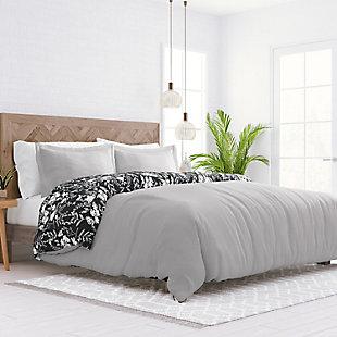 Home Collection Premium Ultra Soft Secret Garden Pattern 2-Piece Reversible Twin Duvet Cover Set, Black, rollover