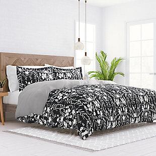 Home Collection Premium Ultra Soft Secret Garden Pattern 2-Piece Reversible Twin Duvet Cover Set, Black, large