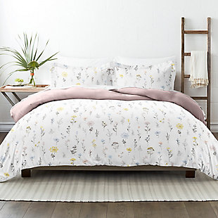 Home Collection Premium Ultra Soft Wild Flower Pattern 3-Piece Reversible Twin Duvet Cover Set, Pink, rollover