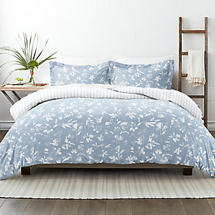 Home Collection Premium Ultra Soft Country Home Pattern 2-Piece Reversible Twin Duvet Cover Set, Light Blue, rollover