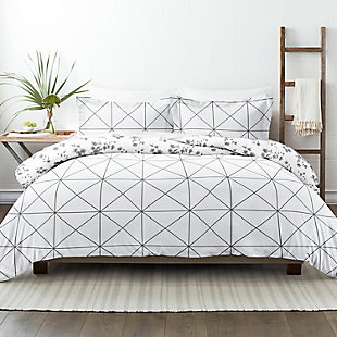 Home Collection Premium Ultra Soft Edgy Flowers Pattern 2-Piece Reversible Twin Duvet Cover Set, Charcoal/White, rollover
