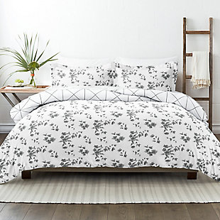 Home Collection Premium Ultra Soft Edgy Flowers Pattern 2-Piece Reversible Twin Duvet Cover Set, Charcoal/White, large