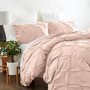 Home Collection Premium Ultra Soft 2-Piece Pinch Pleat Twin Duvet Cover Set, Blush, rollover