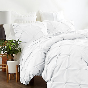 Home Collection Premium Ultra Soft 2-Piece Pinch Pleat Twin Duvet Cover Set, White, rollover