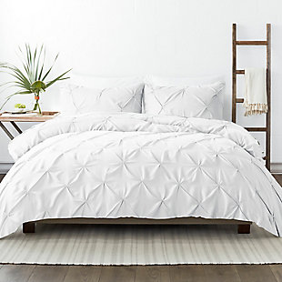 Home Collection Premium Ultra Soft 2-Piece Pinch Pleat Twin Duvet Cover Set, White, large