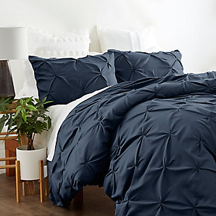 Home Collection Premium Ultra Soft 2-Piece Pinch Pleat Twin Duvet Cover Set, Navy, rollover