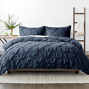Home Collection Premium Ultra Soft 2-Piece Pinch Pleat Twin Duvet Cover Set, Navy, large