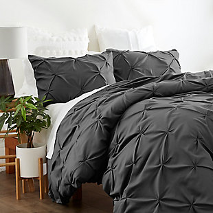Home Collection Premium Ultra Soft 2-Piece Pinch Pleat Twin Duvet Cover Set, Charcoal/White, rollover