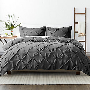 Home Collection Premium Ultra Soft 2-Piece Pinch Pleat Twin Duvet Cover Set, Charcoal/White, large