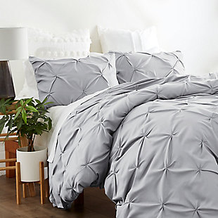 Home Collection Premium Ultra Soft 2-Piece Pinch Pleat Twin Duvet Cover Set, Ash Gray, rollover