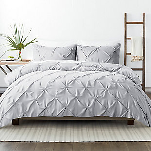 Home Collection Premium Ultra Soft 2-Piece Pinch Pleat Twin Duvet Cover Set, Ash Gray, large