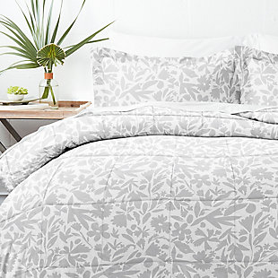 Home Collection Premium Down Alternative Abstract Garden Patterned Twin Comforter Set, Ash Gray, large