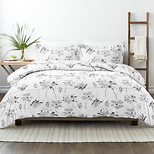Home Collection Premium Down Alternative Magnolia Grey Patterned Twin Comforter Set, Ash Gray, rollover