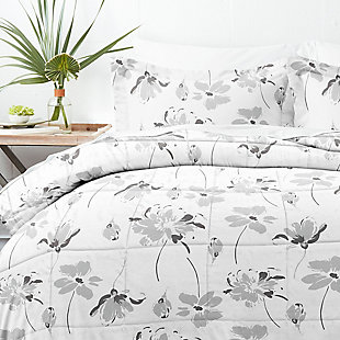 Home Collection Premium Down Alternative Magnolia Grey Patterned Twin Comforter Set, Ash Gray, large