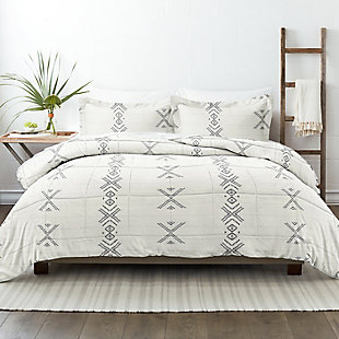Home Collection Premium Down Alternative Urban Stitch Patterned Twin Comforter Set, Charcoal/White, rollover