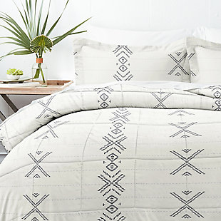Home Collection Premium Down Alternative Urban Stitch Patterned Twin Comforter Set, Charcoal/White, large