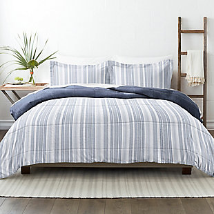 Home Collection Premium Down Alternative Farmhouse Dreams Reversible Twin Comforter Set, Navy, rollover