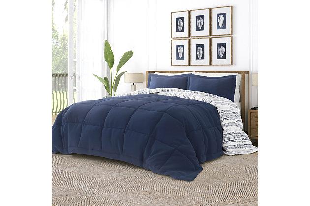Home Collection Premium Down Alternative Farmhouse Dreams Reversible Twin Comforter Set, Navy, large