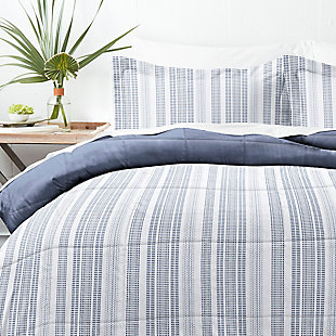 Home Collection Premium Down Alternative Farmhouse Dreams Reversible Twin Comforter Set, Navy, large