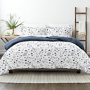 Home Collection Premium Down Alternative Forget Me Not Reversible Twin Comforter Set, Navy, rollover
