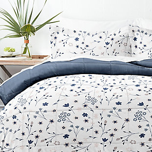 Home Collection Premium Down Alternative Forget Me Not Reversible Twin Comforter Set, Navy, large