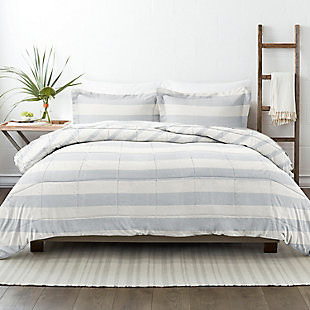 Home Collection Premium Down Alternative Distressed Stripe Reversible Twin Comforter Set, Light Blue, rollover