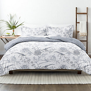 Home Collection Premium Down Alternative Molly Botanicals Reversible Twin Comforter Set, Light Blue, rollover