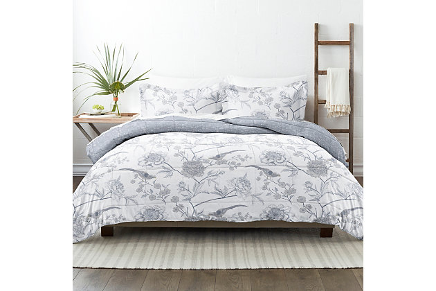 Home Collection Premium Down Alternative Molly Botanicals Reversible Twin Comforter Set, Light Blue, large