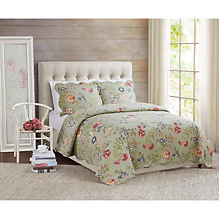 American Traditions Edens Garden 3-Piece Twin Quilt Set, Green, rollover