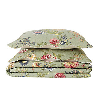 American Traditions Edens Garden 3-Piece Twin Quilt Set, Green, large