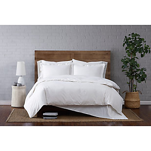 Brooklyn Loom Classic Cotton 2-Piece Twin Duvet Set, White, rollover