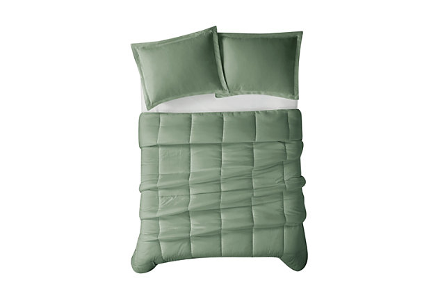Cannon Solid 3-Piece Full/Queen Comforter Set, Green, large