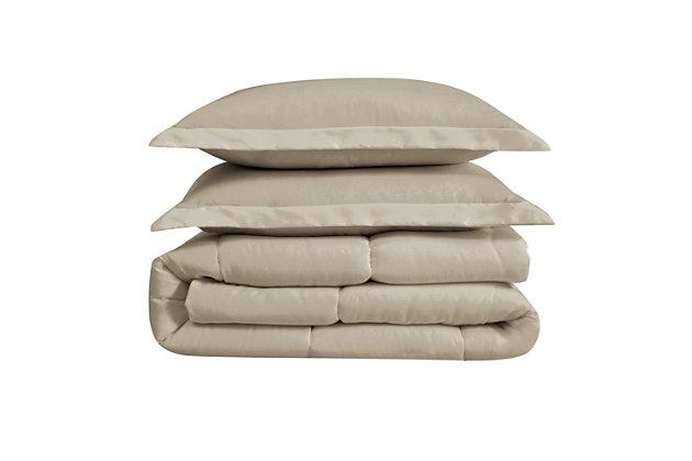 Cannon Solid 3-Piece King Comforter Set, Khaki, large