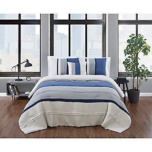 London Fog Newport Stripe Microsuede 3-Piece Twin XL Comforter Set, Blue/Gray, rollover