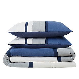 London Fog Newport Stripe Microsuede 3-Piece Twin XL Comforter Set, Blue/Gray, large