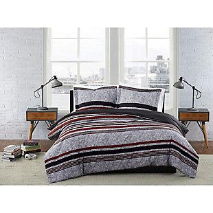 London Fog Warren Stripe 2-Piece Twin XL Comforter Set, Gray/Black, rollover